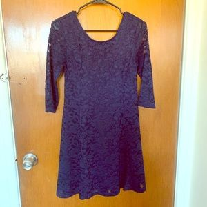 Lush Navy Lace A-Line Dress